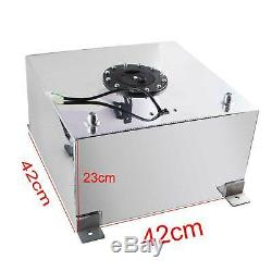 10 Gallon 40L Polished Aluminum Race Drift Fuel Cell Tank Level Sender Silver