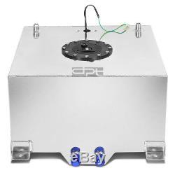 10 Gallon Lightweight Polished Aluminum Race Drift Fuel Cell Tank+level Sender