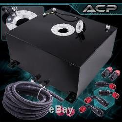10 Gallons Black with Chrome Cap Fuel Cell Tank + Black Oil Line Red Fittings