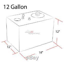 12 Gallon Top-feed Aluminum Race Fuel Cell Tank+cap+level Sender+nylon Line Kit