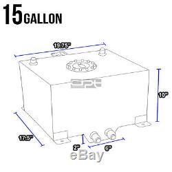 15 Gallon/56.8l Lightweight Polished Aluminum Race Fuel Cell Tank+level Sender