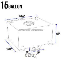 15 Gallon//57L Polished Aluminum Race Drift Black Fuel Cell Tank /& Level Sender