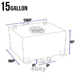15 Gallon/57l Lightweight Black Coat Aluminum Race Fuel Cell Tank+level Sender