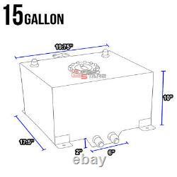 15 Gallon/57l Racing Black Aluminum Gas Fuel Cell Tank+level Sender 20x17.5x10
