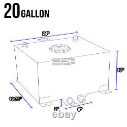 20 Gallon/75.7l Lightweight Polished Aluminum Race Fuel Cell Tank+level Sender