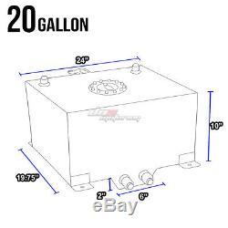 20 Gallon/76l Blue Aluminum Racing/drift Fuel/gas Cell Tank+cap+level Sender