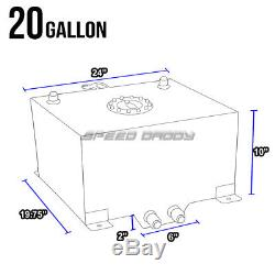 20 Gallon/76l Blue Coat Aluminum Racing/drift Fuel Cell Tank+cap+level Sender