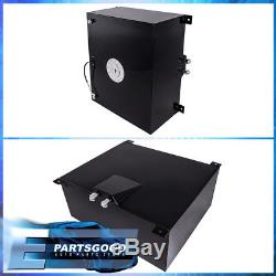 21 Gallon / 80 Liter Black Aluminum Chrome Cap Fuel Cell Tank With Gauge Sender