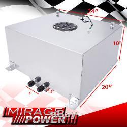 21 Gallon / 80 Liter Chrome Aluminum Black Cap Fuel Cell Tank with Gauge Sender