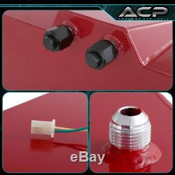 50L / 13 Gallons Red Aluminum Fuel Cell Tank Black Cap Oil Line 10An Red Fitting