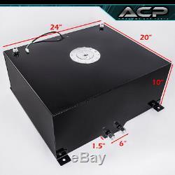 80L / 21 Gallons Black Aluminum Fuel Cell Tank Chrome Cap Oil Line 10AN Fitting