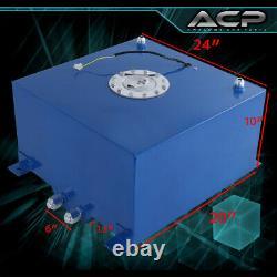 80L / 21 Gallons Blue Aluminum Fuel Cell Tank Chrome Cap Oil Line 10An Fitting