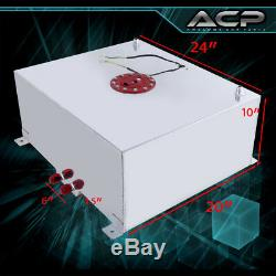 80 Liter / 21 Gallon Chrome Aluminum Fuel Cell Tank With Gauge Sender Red Cap