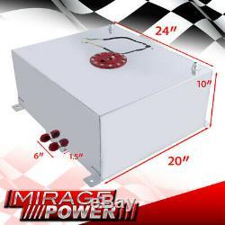 80 Liter / 21 Gallon Chrome Aluminum Fuel Cell Tank With Red Cap + Gauge Sender