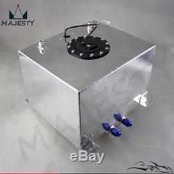 8 Gallon 30.5 Liter Racing Drift Fuel Cell Tank Polished Aluminum + Level Sender