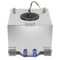 8 Gallon Lightweight Polished Aluminum Race Drift Fuel Cell Tank+level Sender