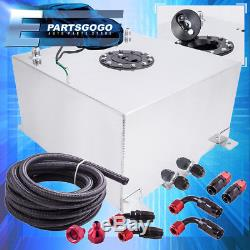 Aluminum 10 Gallon Fuel Tank with Black Cap + Braided Nylon Oil Feed Line Swivel
