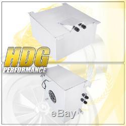 Aluminum Fuel Cell Gas Tank 10 Gallon 40L Black Cap Braided Oil Feed Line 10AN