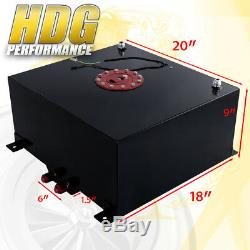 Black Aluminum Fuel Cell Gas Tank 13 Gallon 50L Red Cap Braided Oil Feed Line