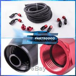 Black with Red Cap 10 Gallon Fuel Tank + Braided Oil Feed Line Red Swivel Fitting