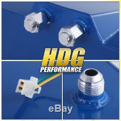 Blue Aluminum Fuel Cell Gas Tank 10 Gallon 40L Chrome Cap Braided Oil Feed Line
