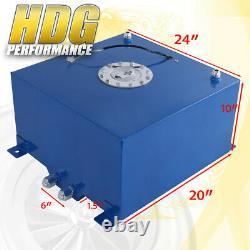 Blue Aluminum Fuel Cell Gas Tank 21 Gallon 80 Liters Chrome Cap + Oil Feed Line