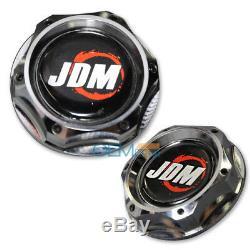 For Honda Acura Jdm Chrome Aluminum Beginner Badge Twist On Engine Oil Cap Cover