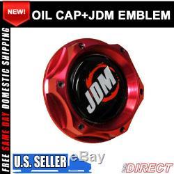 For Honda Acura Jdm Red Aluminum Beginner Badge Twist On Engine Oil Filler Cap