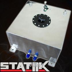 Polished 40l/10 Gallon Aluminum Fuel Gas Cell Tank W Cap Racing Level Sender I