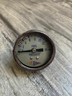 Vintage 15 PSI Eelco Fuel Pressure Gauge SCTA Hot Rod Dash Panel TROG Gasser